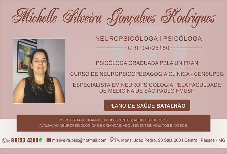 Dra. Michelle Silveira Gonçalves Rodrigues - CRP - 04/25150