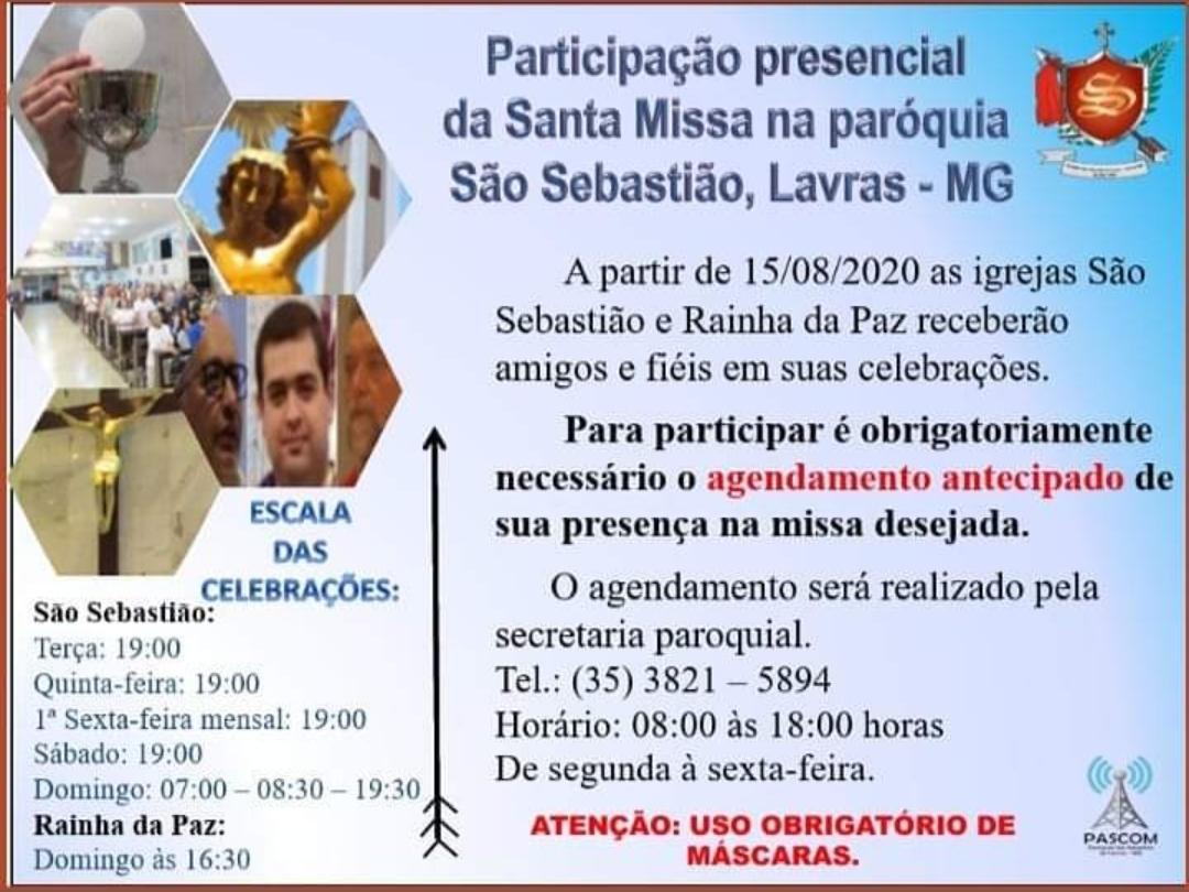 Horários Missa Paróquia São Sebastião.