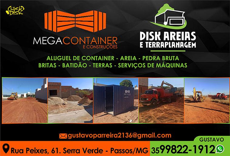 Mega Containers, Areia, Terraplanagem, Aluguel de Container